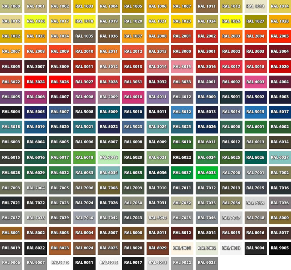 Hurricane Shutters Color Chart